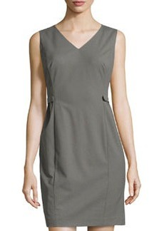 Lafayette 148 New York Naya Tab-Pleated Suiting Dress, Shale