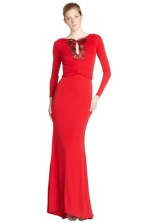 Badgley Mischka scarlet stretch beaded detail long sleeve gown