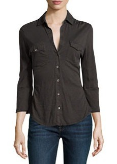 James Perse Contrast-Knit Paneled Shirt, Carbon