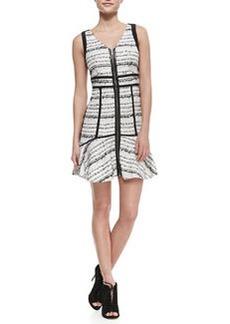 Raffia-Tweed Front-Zip Dress   Raffia-Tweed Front-Zip Dress