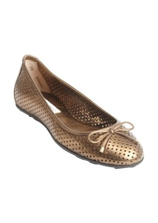 Jimmy Choo bronze perforated leather bow 'Walsh' ballet flats