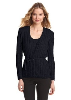 Jones New York Women's Long Sleeve V-Neck Cable Belted Cardigan Sweater