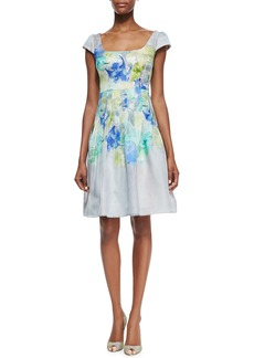 Kay Unger New York Cap-Sleeve Floral-Print Cocktail Dress