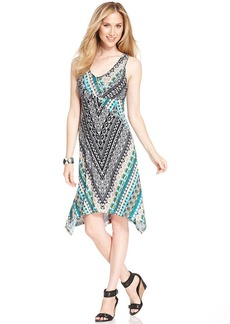 Style&co. Printed Handkerchief-Hem Dress