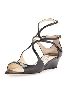 Jimmy Choo Inka Patent Wedge Sandal, Black