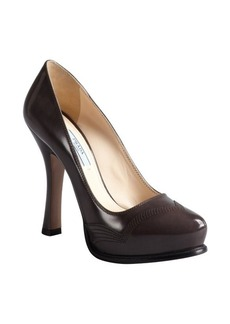 Prada fumo leather stitched platform pumps