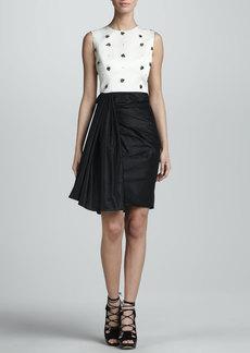 Jason Wu Beaded Sleeveless Combo Dress, Ivory/Black