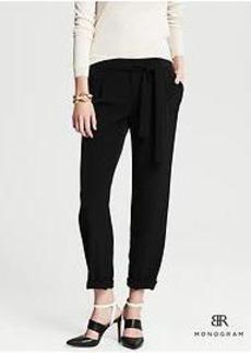 BR Monogram Pleated Cuffed Ankle Pant