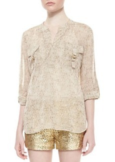 Diane von Furstenberg Danielle Runway Long-Sleeve Flap Pocket Top, Cork Foil