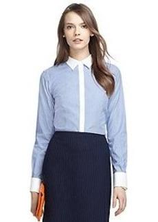 Non-Iron Fitted Thin Stripe Dress Shirt