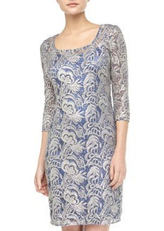 Kay Unger New York Embroidered 3/4-Sleeve Lace Cocktail Dress, Cobalt