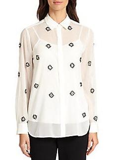 DKNY Embellished Silk-Chiffon Blouse