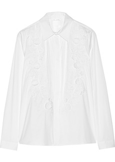 Oscar de la Renta Appliquéd cotton-blend poplin shirt