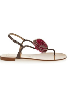Giuseppe Zanotti Carolina roseette-embellished metallic leather sandals