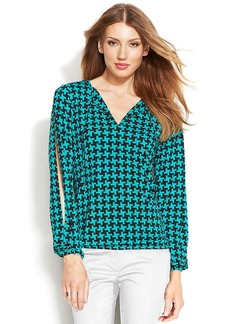 MICHAEL Michael Kors Split-Sleeve Graphic-Print Blouson Top