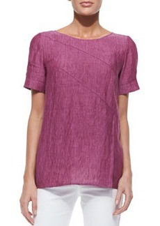 Lafayette 148 New York Amberly Short-Sleeve Zigzag Seam Top, Pomegranate