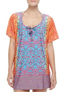 Bejeweled Jersey Short-Sleeve Tunic Coverup   Bejeweled Jersey Short-Sleeve Tunic Coverup