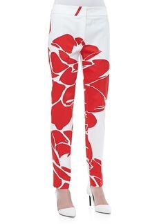Escada Lotus-Print Straight-Leg Pants, Poppy/White
