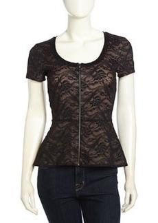 Nicole Miller Ryan Short-Sleeve Peplum Lace Stretch Blouse, Black