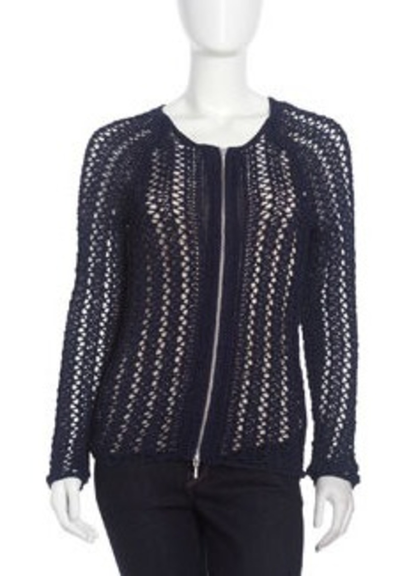 Isda & Co Crochet Zip-Front Cardigan, Marine