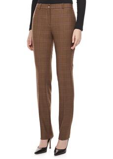 Michael Kors Westminster Plaid Straight-Leg Pants, Chocolate