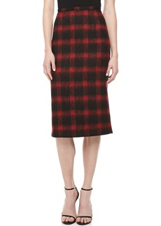 Michael Kors Brushed Check Pencil Skirt, Crimson