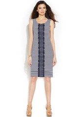 Alfani Sleeveless Striped Crochet-Trim Dress