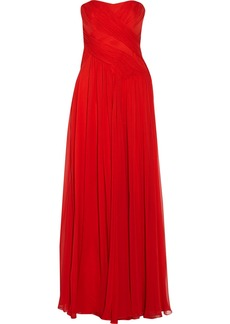 Badgley Mischka Pleated silk-georgette gown