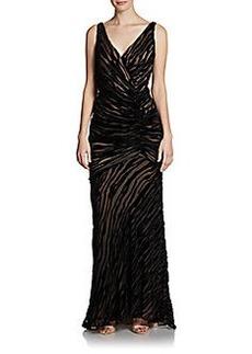 Carmen Marc Valvo Ruched Burnout Velvet Dress