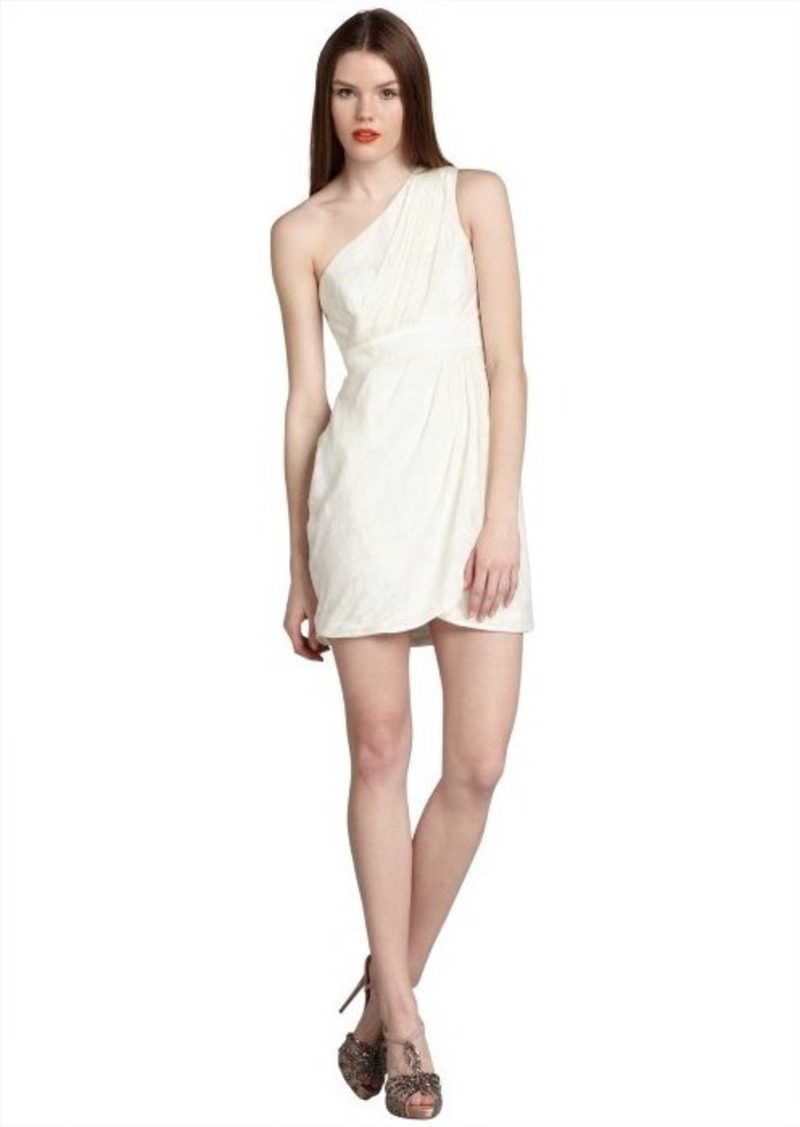 Shoshanna ivory leaf pattern 'Melanee' one shoulder dress