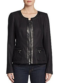 Lafayette 148 New York Neve Linen Leather-Trim Jacket