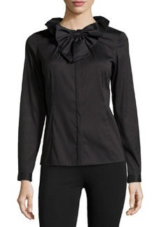Lafayette 148 New York Clarissa Tuxedo Shirting Ruffle Blouse, Black