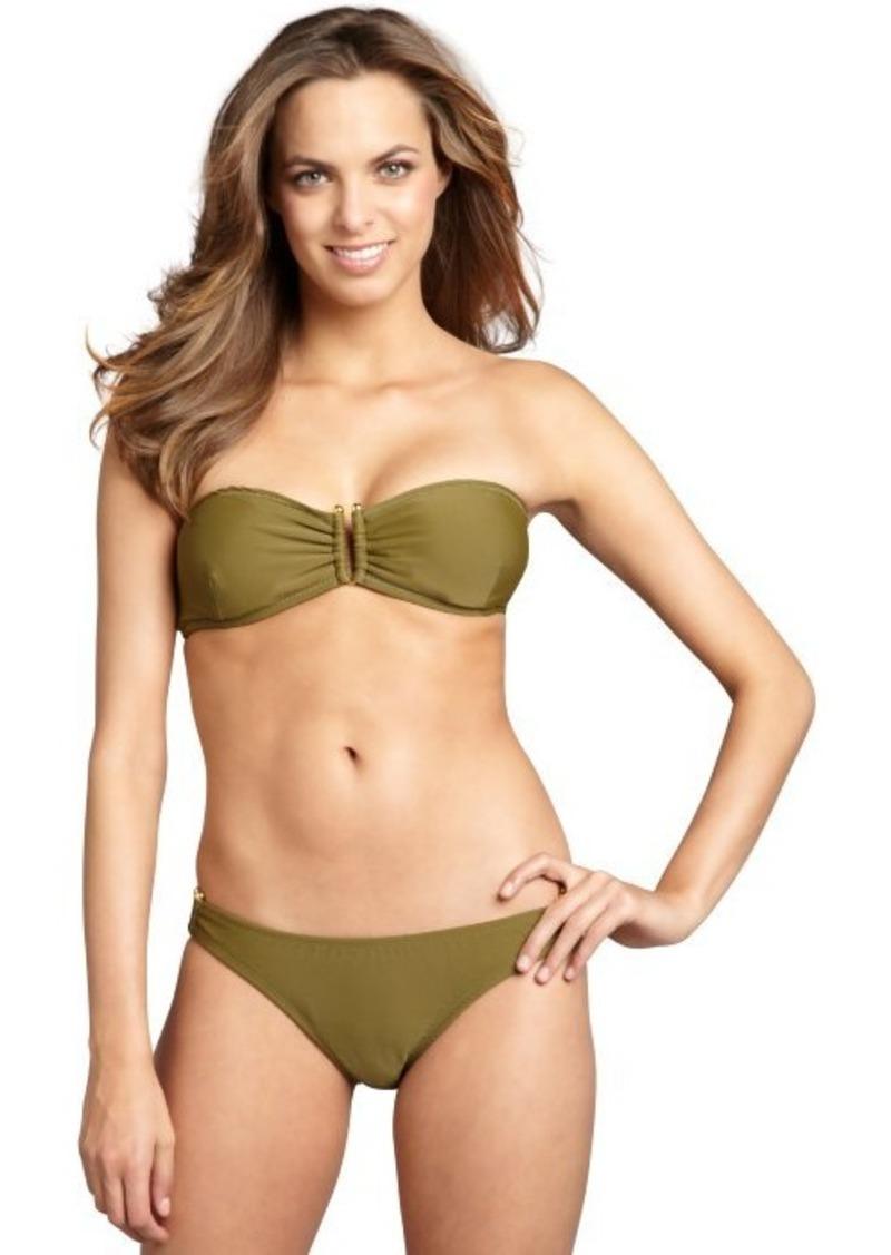 Shoshanna olive nylon blend u-bar hipster bikini bottoms