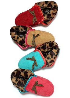 Kensie Glitter Cord Moccasin Boot with Ribbon Slippers