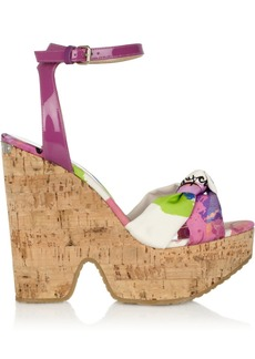 Jimmy Choo Gleam patent-leather and printed twill cork wedges