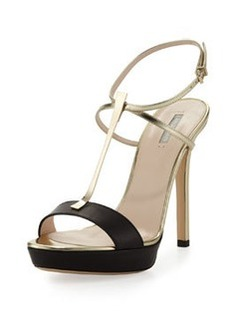 Metallic T-Bar Platform Sandal   Metallic T-Bar Platform Sandal