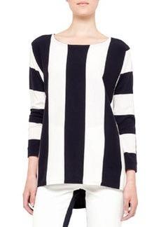 Akris punto Bold Striped Sweater, Navy/Cream