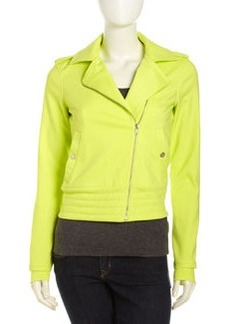 Central Park West Banded Hem Moto Jacket, Citron