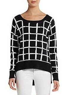 French Connection Grid-Check Hi-Lo Pullover