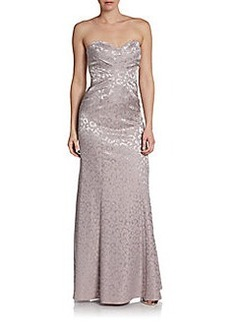 David Meister Strapless Animal Jacquard Gown