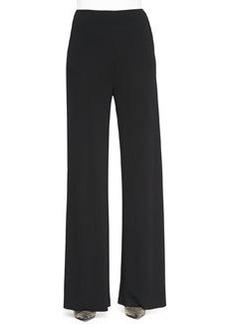 Etro Jersey Crepe Side-Zip Wide-Leg Pants, Black