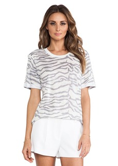 Rebecca Taylor Tiger Print Tee in Gray