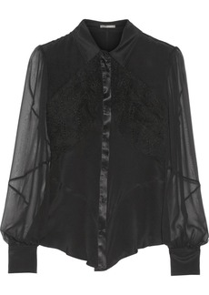 Zac Posen Lace and chiffon-paneled cady blouse