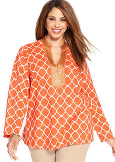 Charter Club Plus Size Long-Sleeve Printed Beaded Tunic