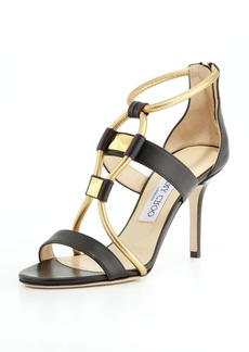 Jimmy Choo Venus Leather Stud Sandal, Black/Gold