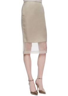 Lafayette 148 New York Slim Skirt with Organza Overlay, Khaki