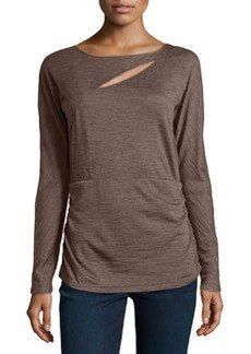 Lafayette 148 New York Marquis-Slit Shirred Top, Fawn Melange