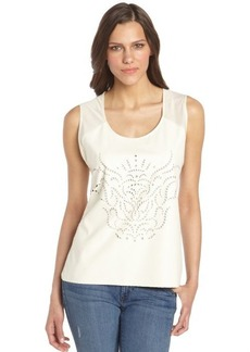 C & C California vanilla laser cut faux leather and stretch jersey tank