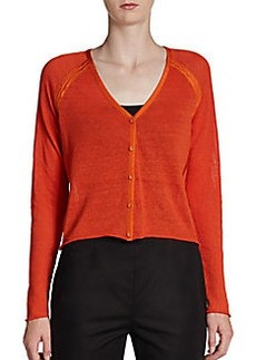Lafayette 148 New York Satin-Trimmed Cropped Cardigan