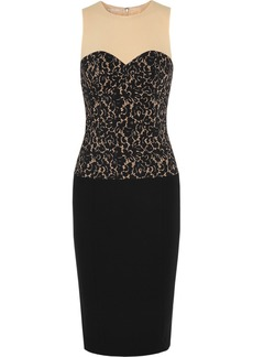Michael Kors Lace-print stretch-wool crepe dress